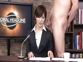 ニュース番組の本番収録中に複数男にザーメンぶっかけられたりSEXしちゃう下半身裸の痴女子アナ