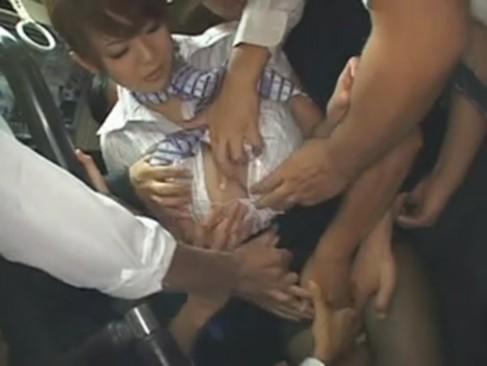 Hitomi バスに乗ったら全員から痴漢される爆乳キャビンアテンダントw