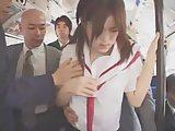 ツインテールのロリ美少女JKがバスで容赦の無い痴漢にあって学校行けなくなる程大量顔射される