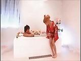 浴衣姿のブロンド巨乳ソープ嬢にチンポ生挿入→侍DNAたっぷり中出しw