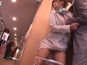 仕事中の美人受付嬢を襲ってその場レイプする鬼畜男