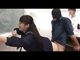 黒髪ツインテールのロリ校生の足の指、アナルを舐めさせてイラマチオ
