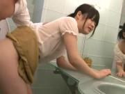 黒髪の可愛い美人OLがヤリチン上司にセクハラされてトイレで濃厚セックス