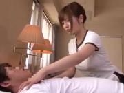 ビジネスホテルに出張に来た、美人で巨乳で若い施術師に勃起し本番パコ