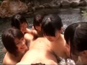[ビッチ 巨乳 痴女 女子高生 温泉 肉棒 フェラチオ 手コキ 騎乗位]温泉へ行くとそこにはドスケベビッチな巨乳女子高生の集団が!すると肉棒をフェラチオ&手コキで痴女られ騎乗位で逆レイプを受ける天国プレイに…