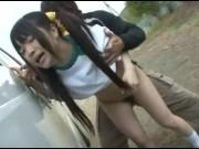 日焼けした女子中学が首を絞められながら生騎乗位で腰振りに夢中の学生系動画